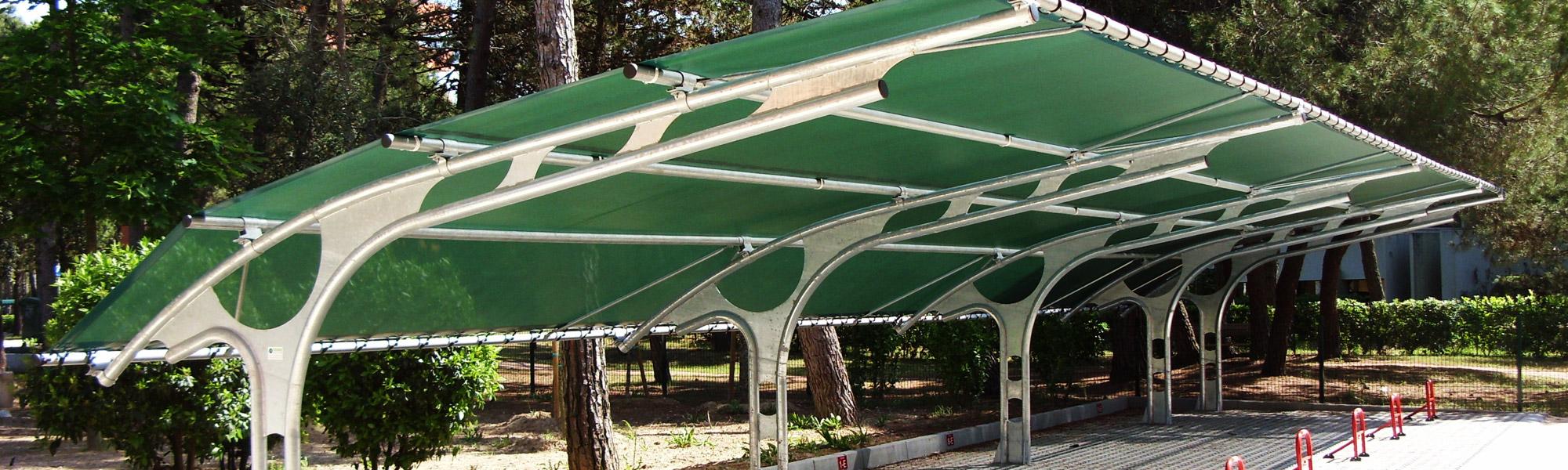 Tecnoserre pensiline copertura posti auto parcheggio for Coperture in legno per auto usate