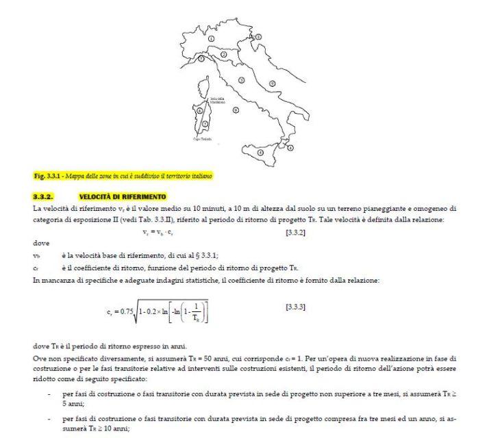 normative parametri del vento